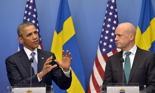 US President Barack Obama at a joint press conference with Swedish Prime Minister Fredrik Reinfeldt.