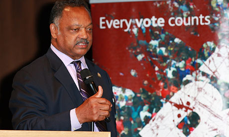 Rev Jesse Jackson at the new Library of Birmingham, 4 September.