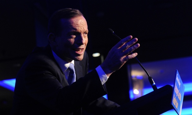 Opposition leader Tony Abbott speaking at a Liberal party fund raising dinner in Sydney, Wednesday, Sept. 4, 2013.