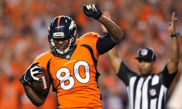 Denver Broncos tight end Julius Thomas celebrates his first touchdown against the Baltimore Ravens.