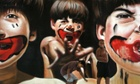 Boys plays in front of a painting by Brazilian artist Zack, part of the ArtRua street art exhibition in Rio de Janeiro, Brazil.