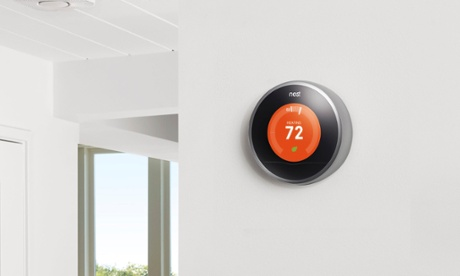 Nest learning thermostat on a wall