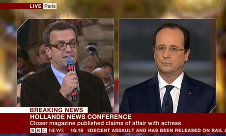 Francois Hollande is asked whether Valerie Trierweiler is still the first lady of France.