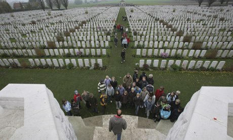Schoolchildren on a visit to the Tyne Cot Cemetery, the largest Commonwealth war grave cemetery in the world, near Ypres, Belguim. Photograph: Matt Cardy/Getty Images