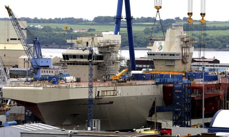 British aircraft carrier HMS Queen Elizabeth under construction at Babcock & Otilde Rosyth dockyard