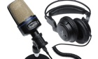 Recording microphone and headphones