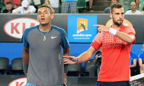 Benoit Paire acknowledges the efforts of Nick Kyrgios after defeating the Australian in five sets.