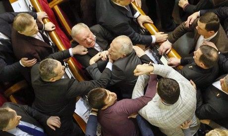 Ukraine parliament fighting