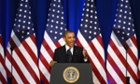 Barack Obama delivers remarks on NSA reform at the Department of Justice in Washington.