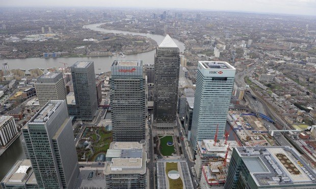 An aerial view of the Canary Wharf offices of Citigroup and HSBC