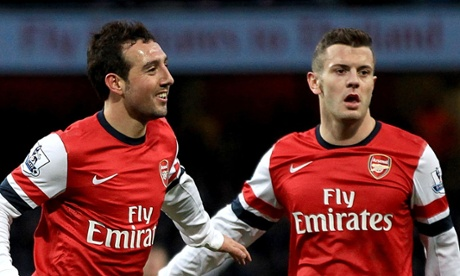 Cazorla celebrates his second.