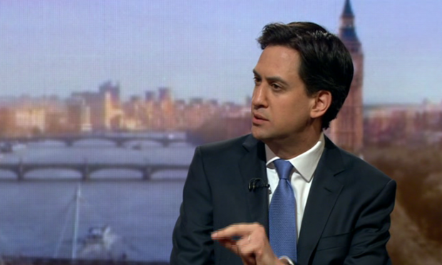Ed Miliband being interviewed on the Andrew Marr show