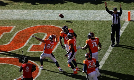 Jacob Tamme of the Denver Broncos celebrates his touchdown against the New England Patriots in the AFC Championship game