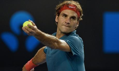 Switzerland's Roger Federer serves during his men's singles match against France's Jo-Wilfried Tsonga
