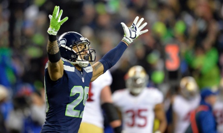Seattle Seahawks cornerback Richard Sherman reacts to the game-winning interception against the San Francisco 49ers