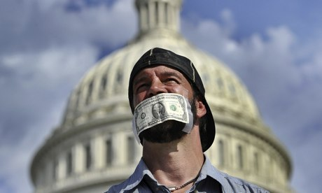 A federal budget shutdown protester in 2013