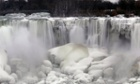 The US side of Niagara Falls thawing after January's brutal cold swept across the north-east.