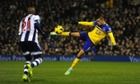 Everton's Kevin Mirallas attempts a goalwards volley against West Bromwich Albion. It almost certainly went wide.