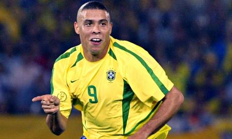 Brazil's forward Ronaldo celebrates after scoring
