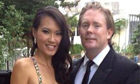 Offensive: Anton Casey with his wife, former Miss Singapore, Bernice Wong.