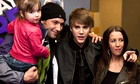 Justin Bieber with sister Jazmyn, father Jeremy and mother Pattie Mallette at a 2011 film screening