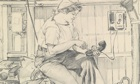 Detail from a sketch of a Wren at work during the second world war by Gladys E Reed