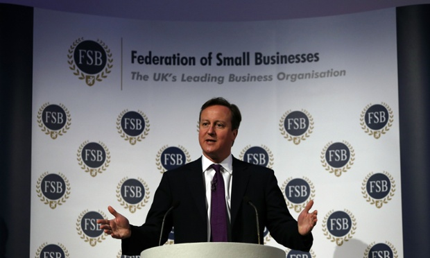 David Cameron speaking to the Federation of Small Businesses in London.