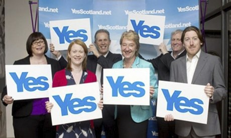 Ian Dommett, second right, and Stan Blackley, right, join Yes Scotland's casualties