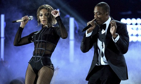 Beyonce and Jay-Z performing at the Grammys