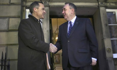 Mark Carney, governor of Bank of England, meets Alex Salmond, first minister of Scotland