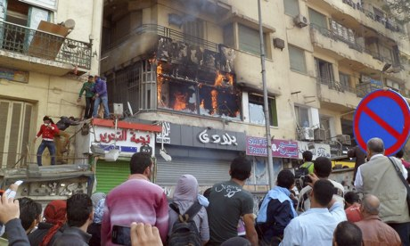Fire at al-Jazeera studio in Tahrir Square in 2012