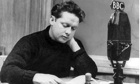 Dylan Thomas with BBC microphone