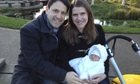 Liberal Democrat MP Jo Swinson (right) and husband Duncan Hames with their first child, Andrew