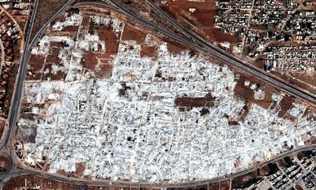 Syria aerial image of destroyed neighbourhood