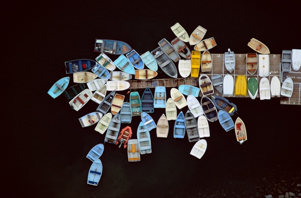Dinghies clustered around dock, Duxbury, Massachusetts, USA 1993