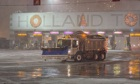 Snowplough outide the Holland Tunnel in New York