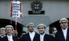 Lawyers protest at Old Bailey, London