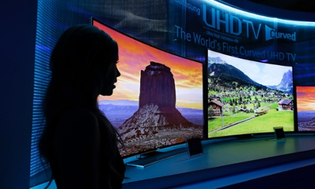Samsung's curved 4K UHD TVs during a preview event at the International Consumer Electronics Show in Las Vegas.