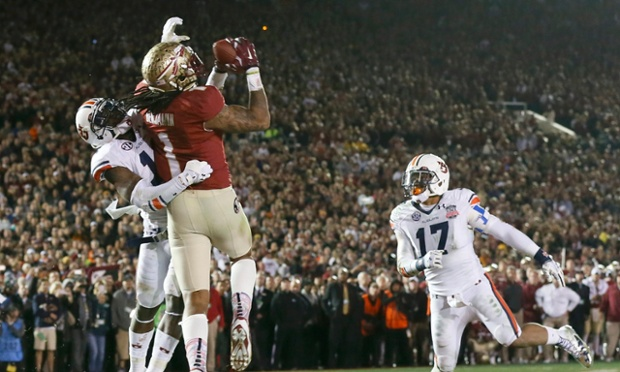 Florida State Seminoles' Kelvin Benjamin catches the game-winning touchdown in the BCS