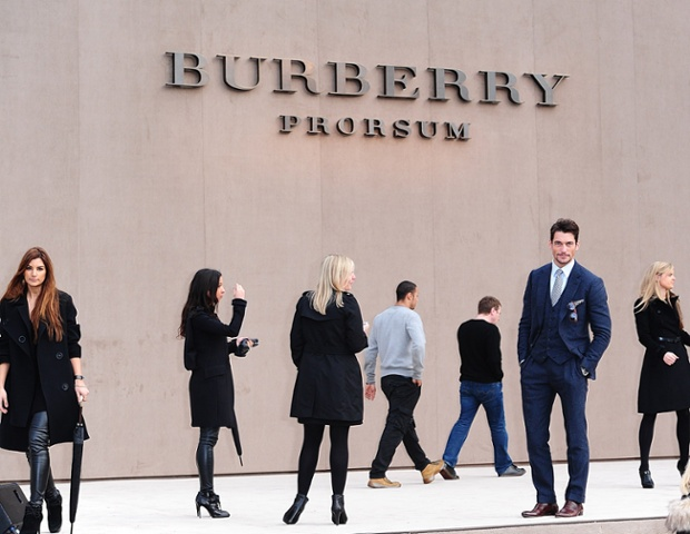 David Gandy  arriving for the Burberry Prorsum Menswear show as part of the British Fashion Council's London Collections, at Kensington Gardens, Kensington Gore