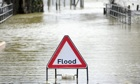 Flood sign in Tewkesbury, Gloucestershire
