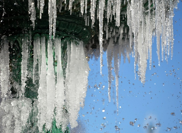 Icicles form on a fountain in Augusta, Georgia.