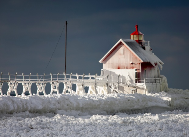 Frost covers the pierhead at Grand Haven, Michigan.