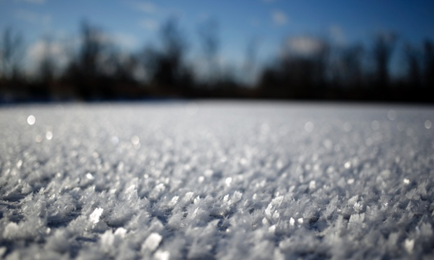 Icy crystals gather on top of a frozen pond in Lawrenceburg, Kentucky.