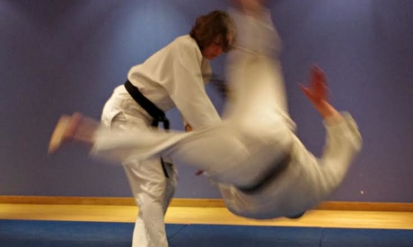 Tammy Parlour throwing an opponent in hapkido