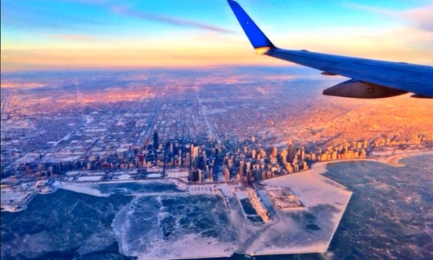 Chicago and Lake Michigan as viewed from a plane.
