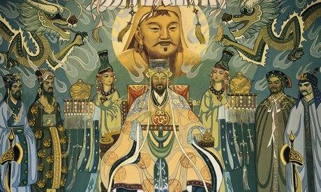 Mural featuring Genghis Khan and his court