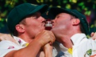 Peter Siddle and Michael Clarke with the replica Ashes urn.