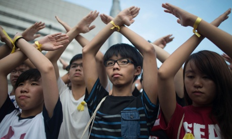 Joshua Wong during a protest in Hong Kong's financial district. T