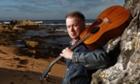 Musician Edwyn Collins seen near his home at Helmsdale, Scotland.